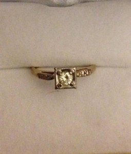 14K Yellow Gold Engagement or Pinky Finger Ring