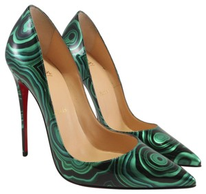 Christian Louboutin Sokate Kate Stiletto Patent Malachite green Pumps