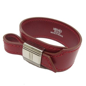 Hermès Authentic Hermes Artemis Bordeaux Red Leather Bracelet with Box