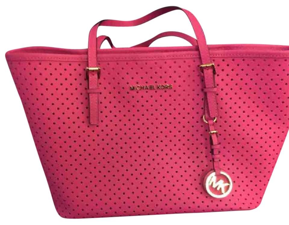 e0043b4f6d Michael Kors Perforated Hot Pink Leather Tote - Tradesy