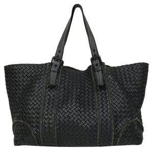 Bottega Veneta Dark Leather Topstitched Tote in Brown