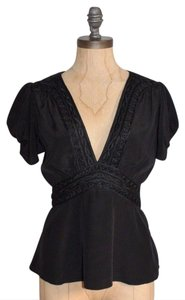 Temperley London Silk Tunic Silk Lace Trim Draped Top BLACK