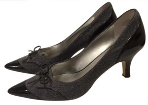 Anne Klein Herringbone Flannel Spectator Bow Patent Leather Grey Flannel Pumps