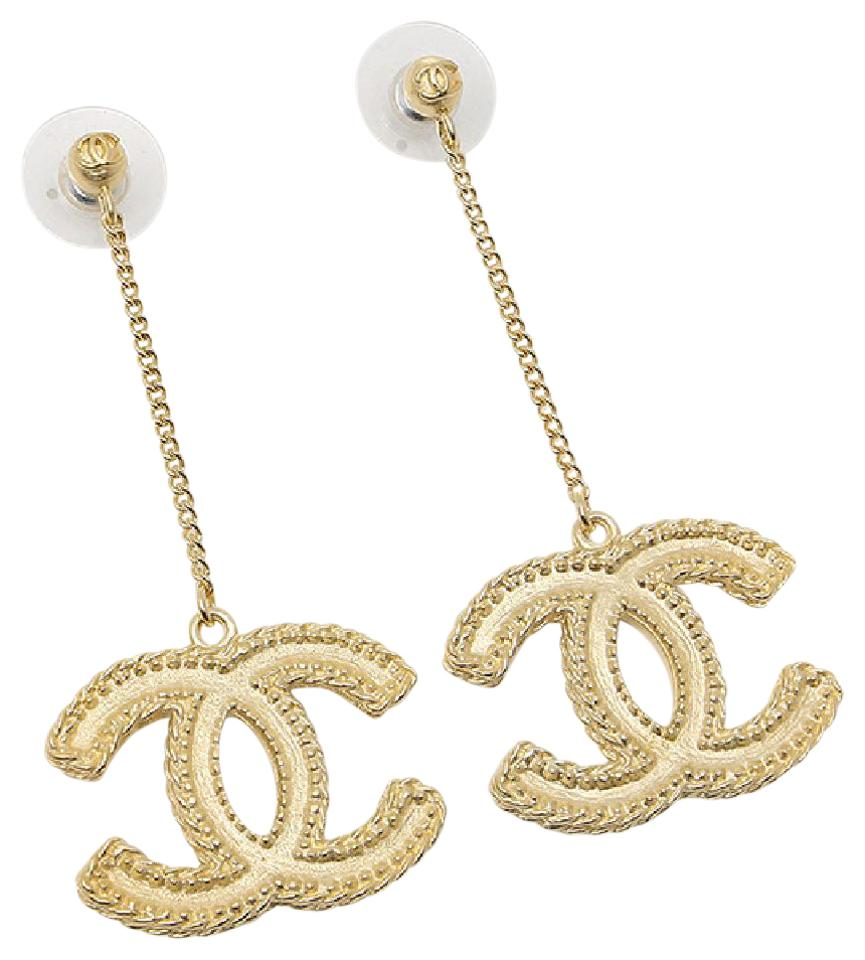 chanel gold dangle cc logo classic full package earrings