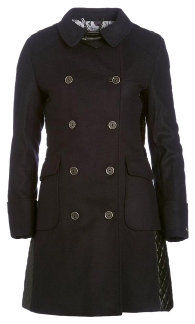 Item - Navy Blue Black Lieutenant Wool Cashmere Leather Quilted Trench Coat Jacket Size 12 (L)