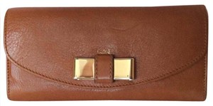 Chloé The Lily Continental Wallet In Nut/Tan Leathr With Box