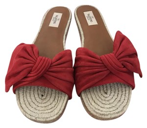 Valentino Suede Bow Slide Red Sandals