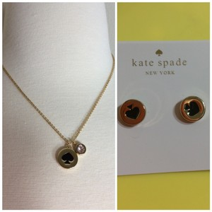 Kate Spade Black Spade Necklace & Earrings