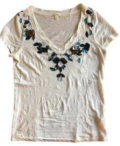 J.Crew Beaded Embellished Soft T Shirt ivory