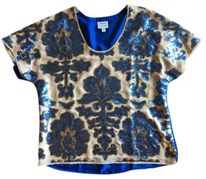 Tracy Reese Fancy Sequin Embellished Party Top tan and blue