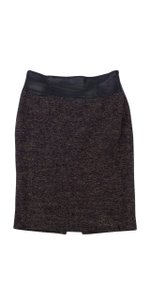 Lafayette 148 New York Brown Tweed With Black Leather Waistband Skirt