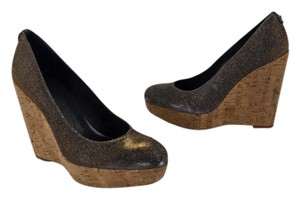 Stuart Weitzman Corkswoon Pump Glitter Wedges