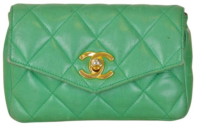 """Item - Waist 6.5"""" Quilted Lambskin Single Flap Green Leather Cross Body Bag"""
