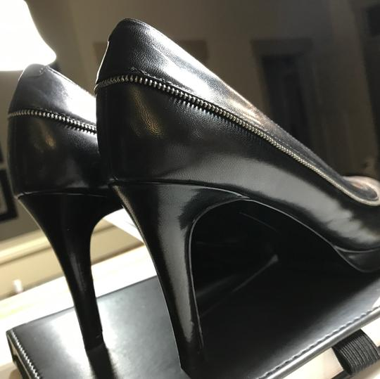 Nine West pumps for the office black with small silver motif on outside of leather along with additional leather strap strap Pumps Image 4