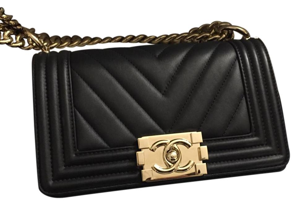 655b848517ea Chanel Boy Le Chevron Ghw Black Calfskin Cross Body Bag - Tradesy