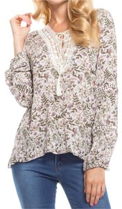 Amor Adore Floral Print Woven Crochet Lace Top