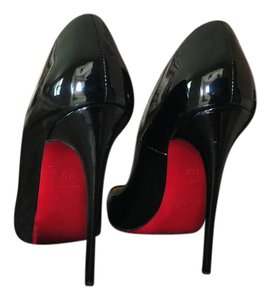 Christian Louboutin Pointed Toe Patent Leather Structured So Kate Black Pumps