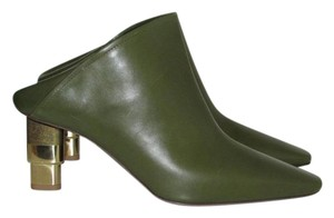 Céline Forest Green Leather Mules