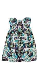 Nicole Miller short dress Teal Gold Strapless on Tradesy