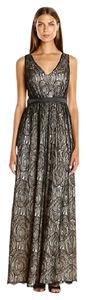 Adrianna Papell Gown Satin Lace Dress