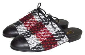 Chanel Tweed Black White Red Mules