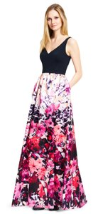 Adrianna Papell V-neck Floral Mikado Gown Dress