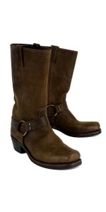 Frye Brown Leather Square Toe Boots