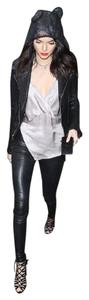 Balenciaga Grey Leather Leggings
