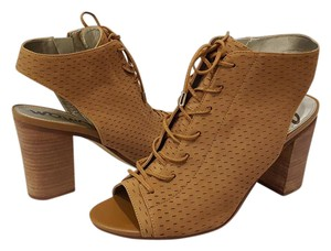 Sam Edelman Ennette Lace Up Perforated Leather Golden Caramel Boots