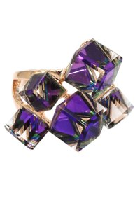 Ocean Fashion Square candy purple crystal rose gold ring