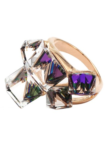 Ocean Fashion Square candy purple crystal rose gold ring Image 1
