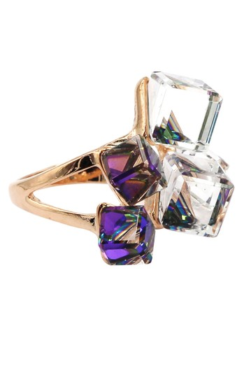 Ocean Fashion Square candy purple crystal rose gold ring Image 2