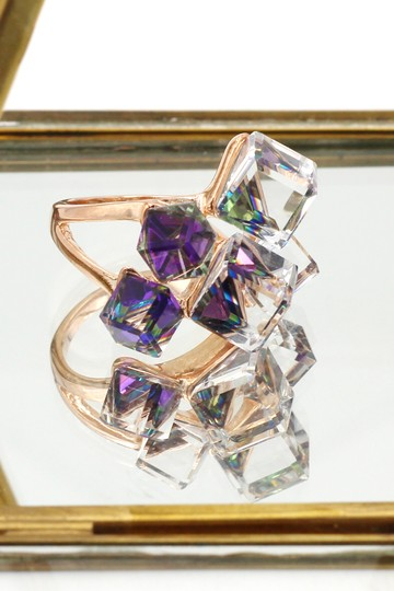 Ocean Fashion Square candy purple crystal rose gold ring Image 3