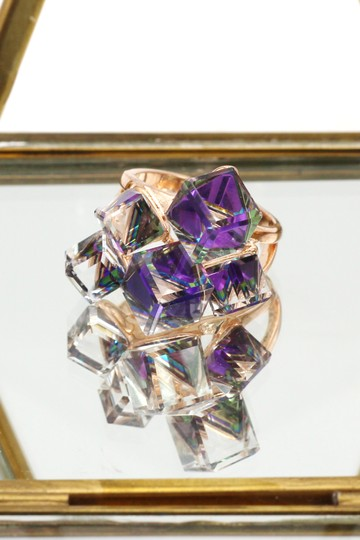 Ocean Fashion Square candy purple crystal rose gold ring Image 4