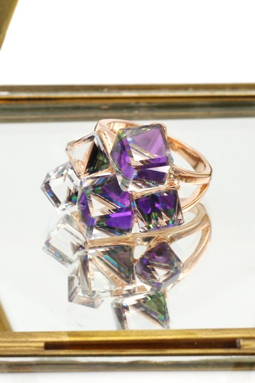 Ocean Fashion Square candy purple crystal rose gold ring Image 5