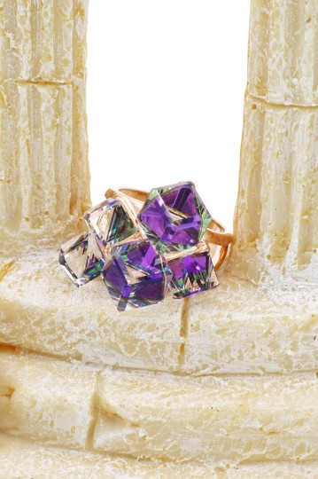 Ocean Fashion Square candy purple crystal rose gold ring Image 6