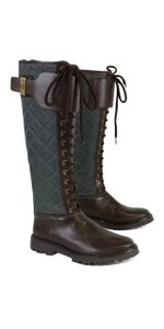 Tory Burch Teal Brown Quilted Lace Up Boots