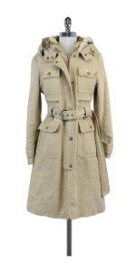 Laundry by Shelli Segal Khaki Fur Trimmed Coat