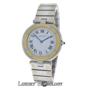 Cartier Mint Unisex Ladies Cartier Santos Ronde Steel 18K Gold Steel 32mm