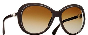 Chanel 5302 Perle Pearl CC Logo Brown Oval Round Oversized Polarized Cultured