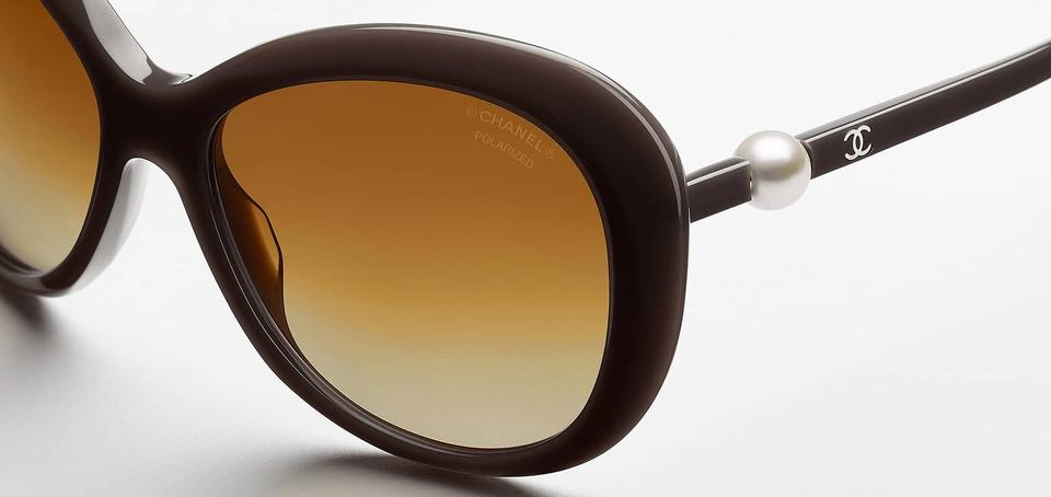 5fadace7b68 Chanel Brown Pearl 5302 Perle Cc Logo Round Oversized Polarized Cultured  Sunglasses - Tradesy
