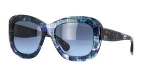 Chanel Chanel Multi Blue Tweed Oversized Sunglasses