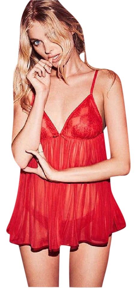 7a0a150652 Victoria s Secret Cherry Red Size Small Dream Angels Mesh Babydoll ...