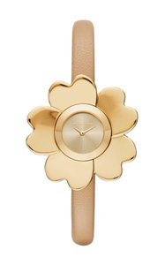 Michael Kors Michael Kors Mena Gold-Tone and Peanut Leather Two-Hand Watch