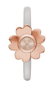 Michael Kors Michael Kors Mena Rose Gold-Tone and Gray Leather Two-Hand Watch