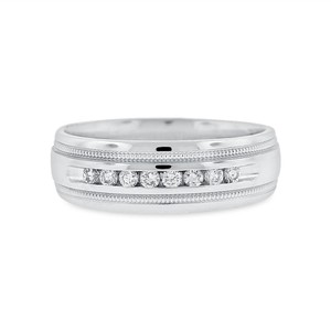 Other 0.25 CT Natural Diamond Men's Filigree Wedding Band In Solid 14k White