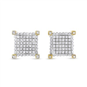 Other 1.05 Carat Men's Diamond Bling Hip-Hop Earrings In Solid 14k Yellow