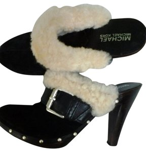 Michael Kors Fur Trimmed Heels Sexy Leather Black & White Mules