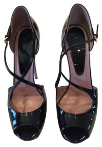 Gucci Black Patent Leather Platforms