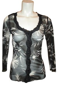 Kesmit Sheer Mesh Lace Button Down Top black & white